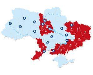 Представительства АМАКО на карте Украины