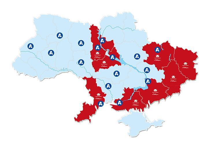 карта с региональными представительствами АМАКО